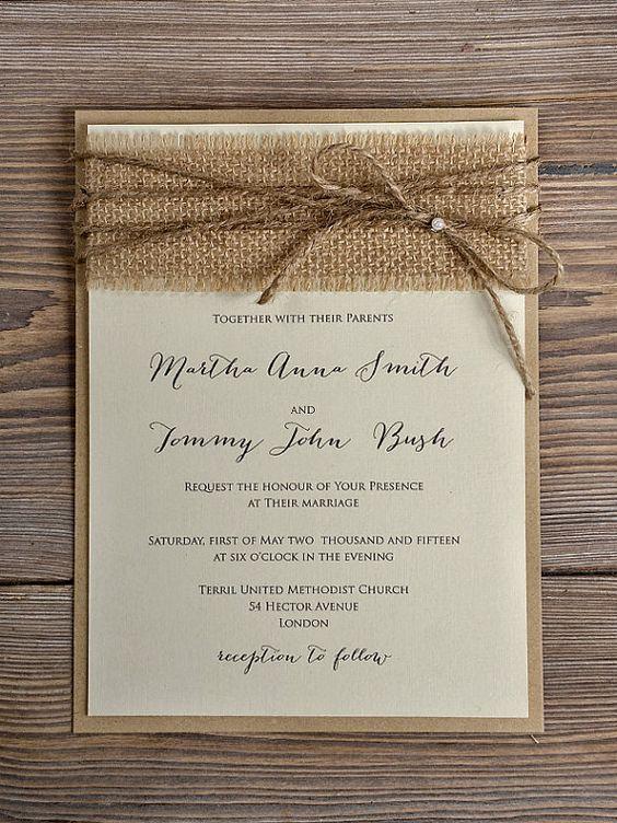 Rustic Blossom Wedding Invitation, Country Style Wedding Invitations,Birch Bark Wedding Invitations, Burlap Wedding Invitation: