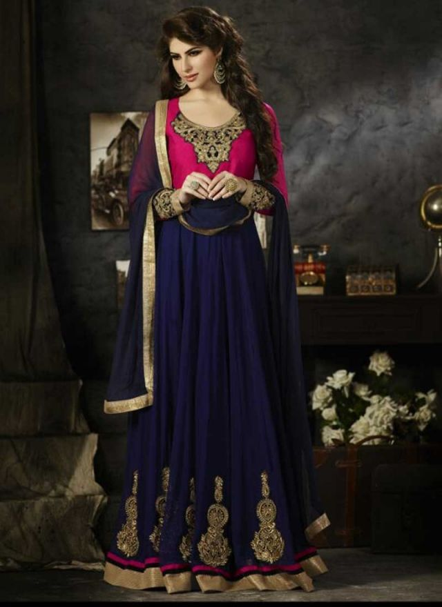 Amazing Royal Blue Georgette Santoon With Velvet Koti Anarkali Suit http://www.angelnx.com/