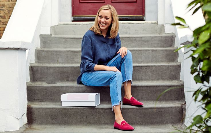 Parcel founder Natalie Powell in her work uniform: Cut off jeans and pink velvet Gucci Princetown slipper