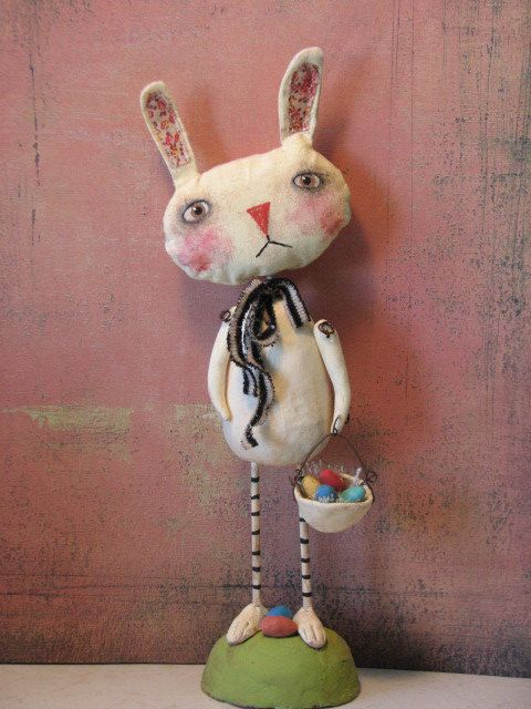 Primitive Bunny Rabbit with Basket of Eggs .........Clay and Cloth Art Doll. via Etsy. Off The Beam.