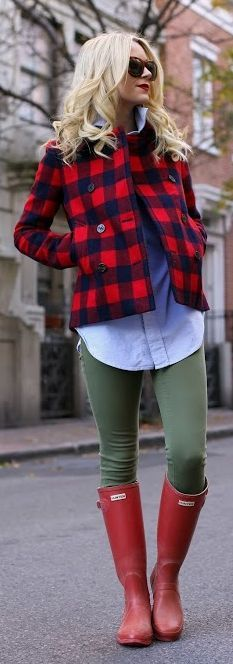Red black plaid jacket with red hunters. Such a cute rain outfit