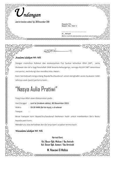 Contoh Undangan syukuran Kelahiran Anak ~ one for all and to share