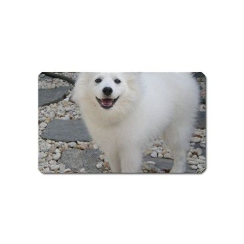"""American Eskimo Dog Full Our magnets are of an extremly high quality. All of our magnets are made of 100% industrial strength caliber vinyl with an aggressive permanent adhesive magnets. All of our magnets are splash proof and are suited for indoor use only. It measures 3 1/2"""" x 2 /18"""" name card size rectangular magnets."""
