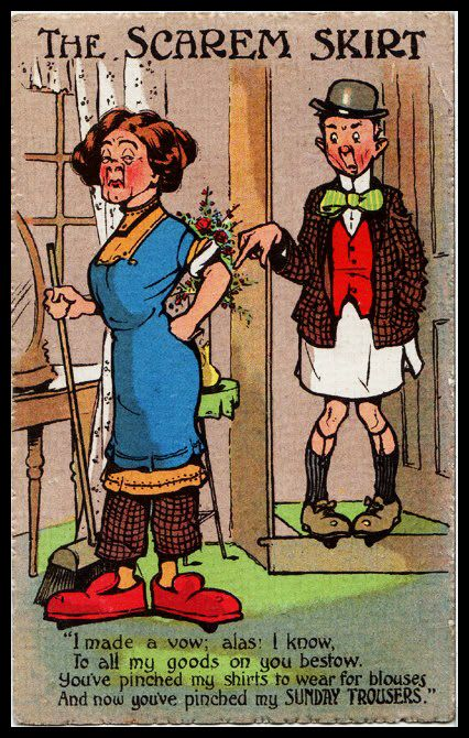 Rare Political Comic Postcard Women's Vote Suffragettes wear the trousers Now!