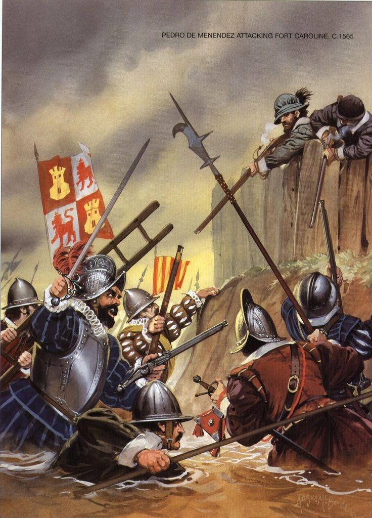 Angus McBride - Pedro de Menéndez ataca a los franceses de Fort Caroline, Septiembre de 1565.