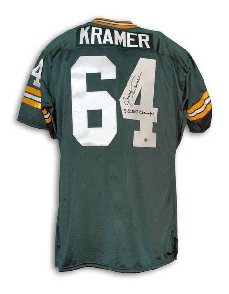 "Jerry Kramer Green Bay Packers Autographed Green Throwback Jersey Inscribed """"SB I+II Champs"""""