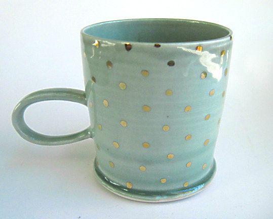 READY TO SHIP Gold Polka Dot Porcelain Mug Blue on Etsy, $38.00