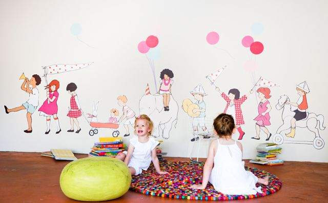 We think these Sarah Jane for @Pop & Lolli Fabric Eco Friendly Wall Decals removal wall decals are the perfect touch to a playroom!