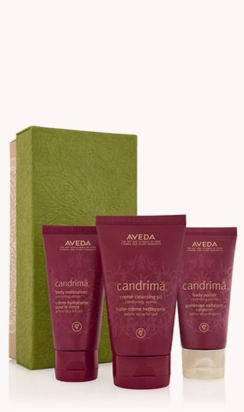 """Feel the comfort of the holidays in Aveda's own comforting aroma with certified organic ginger and ginger lily, named candrimā™ after """"moonlight"""" in Sanskrit for the lily's moon-white blossoms. Candrimā™ body care nourishes with a plant oil blend including certified organic sesame and coconut oils, to leave skin soft and smooth. Comforting aroma with certified organic ginger and ginger lily and other pure flower and plant essences.gift set"""