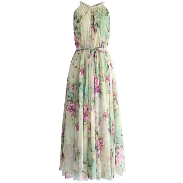 Chicwish Flower Lullaby Maxi Slip Dress ($62) ❤ liked on Polyvore featuring dresses, white, white floral dress, flower maxi dress, floral print maxi dress, dressy dresses and floral dresses