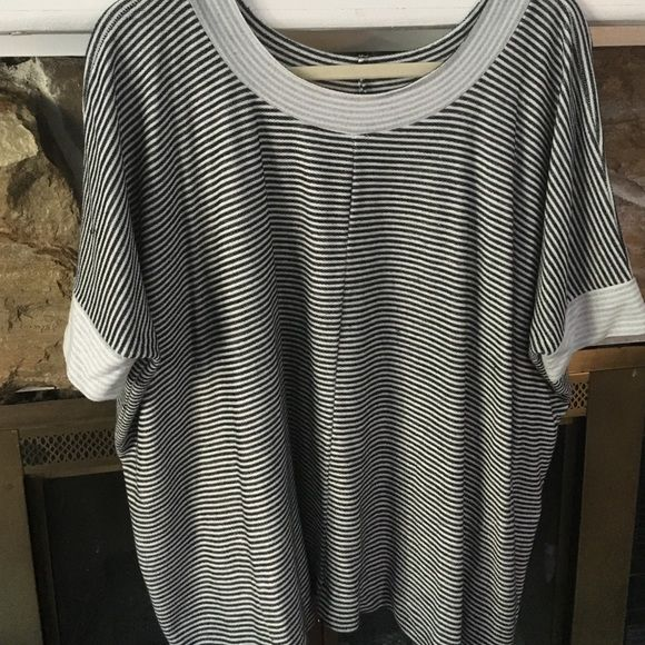 Super soft stripped batwing tee shirt Softest material ever!  Small nautical strips, round neck, batwing, hand pockets on both sides, oversized for comfort, and dips on the sides. Dolan T-Shirt Tops Tees - Short Sleeve