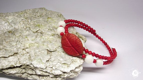 Coral and Jade Bracelet Leaf Bracelet Women by SpiritualAmulets