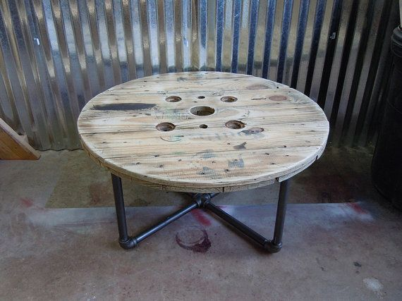 FREE SHIPPING  Wooden Reel Coffee/Side by SibusFurnitureDecor, $249.00