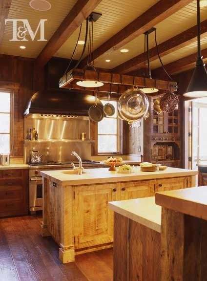 Reclaimed Wood Pot Rack Cold Rolled Steel Range Hood Rough Sawn Cabinets Eclectic Kitchen By Tucker Marks