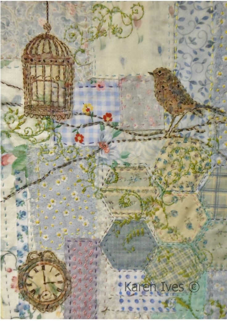 Vintage Bird  embroidery and patchwork More from Karen Ives ~ so pretty! Not quite crazy but lovely