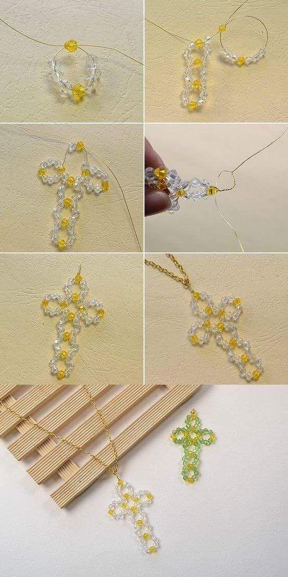 Kreuz aus Perlen und Draht Halskette #draht #halskette #kreuz #perlen