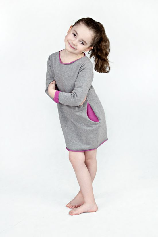 """Two Face"" Sweatshirt Dress for gilr with PINK by THE SAME - mom and child wear www.thesame.eu"