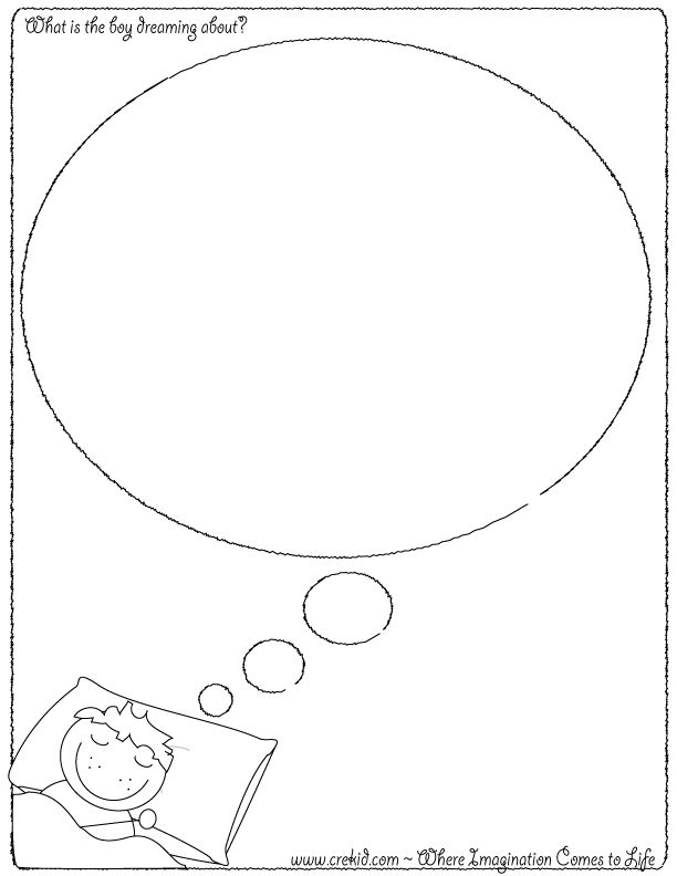 What is the boy dreaming about?  CreKid.com - Creative Drawing Printouts - Spark your child's imagination and creativity. So much more than just a coloring page. Preschool - Pre K - Kindergarten - 1st Grade - 2nd Grade - 3rd Grade. www.crekid.com