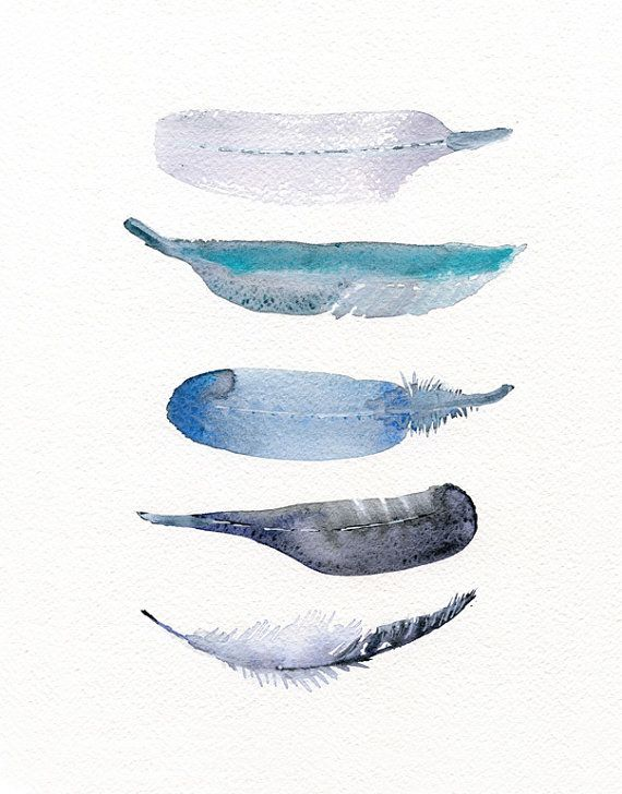 Watercolor art print   feather print from original by TheClayPlay, $22.00