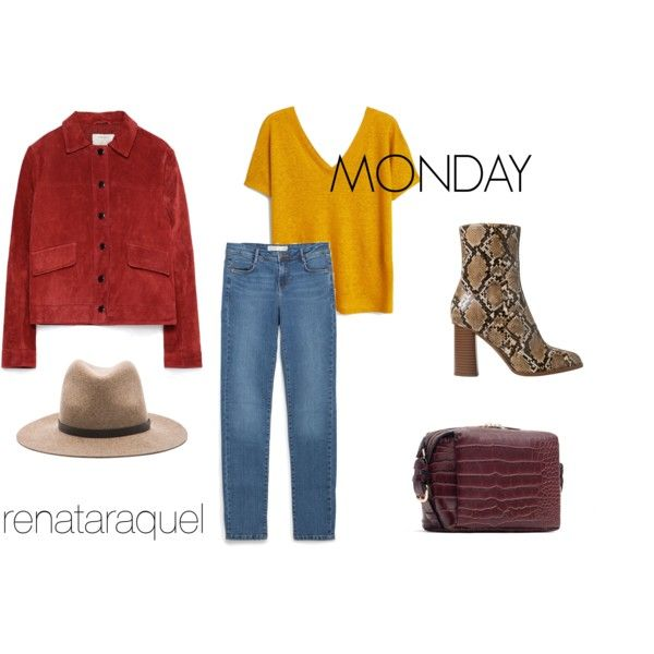 MONDAY by renatabarroso on Polyvore featuring MANGO, Zara and rag & bone