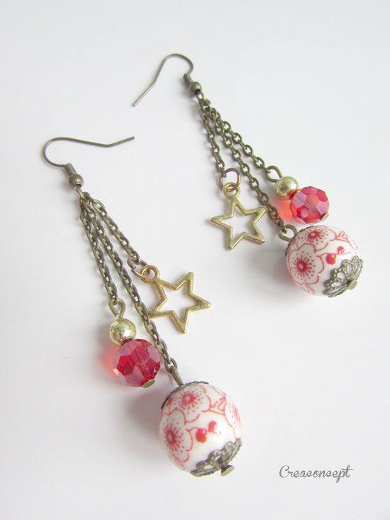 Petit problème de descriptif que je ne sais pas résoudre, il s' agit de boucles d 'oreilles aux perles de porcelaine et étoiles - création Creaconcept