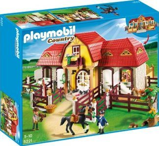 PLAYMOBIL® Large Horse Farm with Paddock, No. 5221 `One size the stud farm is accessible from the 4 sides, Theme: Country Details : 2 character(s), 4 box, 3 horses, animals Age : Age 4 and upwards 75 x 46 x 29 cm. http://www.comparestoreprices.co.uk/january-2017-7/playmobil®-large-horse-farm-with-paddock-no-5221-one-size.asp