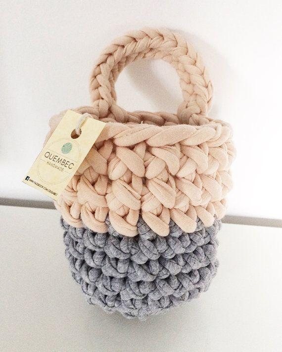 Cestino appeso all'uncinetto PASTELOVE | Hanging basket | crochet basket…