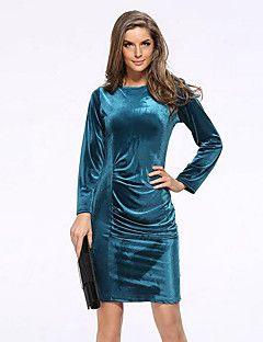Kadın Günlük/Sade / Büyük Beden Sokak Şıklığı Kılıf Elbise Solid,Uzun Kollu Yuvarlak Yaka Diz-boyu Mavi / Kırmızı / Siyah / Yeşil
