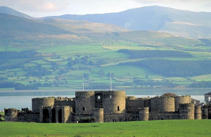 A beautiful view of Beaumaris Castle on the Isle of Anglesey, North Wales, UK, and the stunning surrounding views.