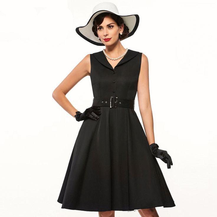 Women's Dress Vintage 1950s Party V-Neck Sleeveless Knee Length
