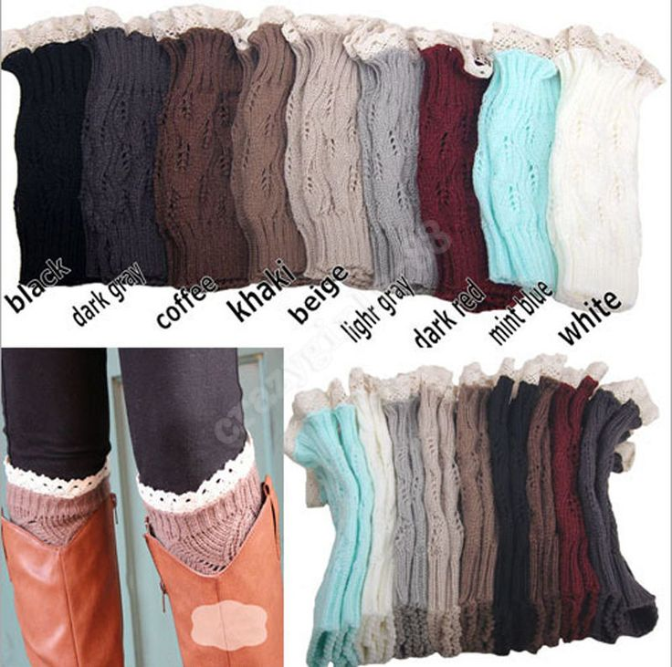 Girls Easeful Knitted Stocking Leg Warmers Boot Cover Lace Trim Legging Socks #Unbranded