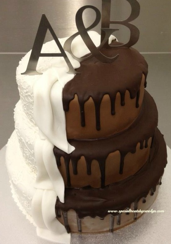 This wedding cake shows the elegant and the fun side - or what's hidden beneath! Mmm!