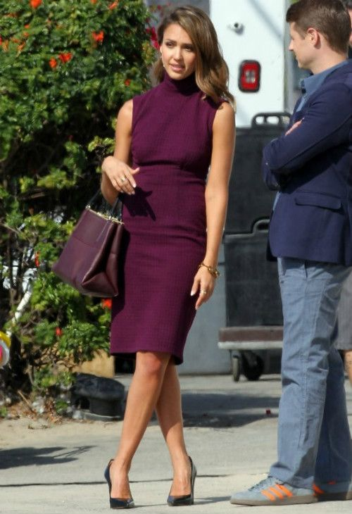 Jessica Alba wearing Coach Borough bag in Oxblood Tracy Reese Sleeveless Tweed Lace-Back Turtleneck Dress in Magenta