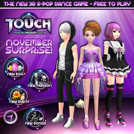 November surpriseeeeeee !! Update november akan segera hadir di Touch Online Indonesia ~ Kalian jangan sampai ketinggalan untuk mengikuti update terbarunya yaa Read more : http://touch.prodigy.co.id/november-surprise/ #prodigyinfinitech #TOUCH #online #indonesia #casual #musical #dance #games #webbrowser #webbased #teman #sahabat #cinta #pacar #love #friends #Kpop