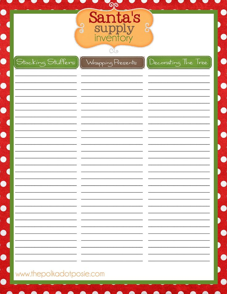 2383 best Christmas Printables images on Pinterest Christmas - free printable christmas list template