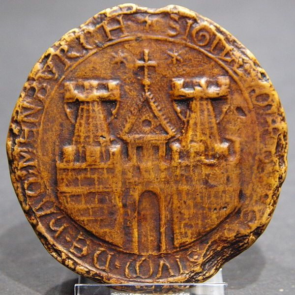Impression of the first known seal of the City of Hamburg, Germany from 1241, replica. Repository: Archive of the hanseatic City of Lübeck, Germany.