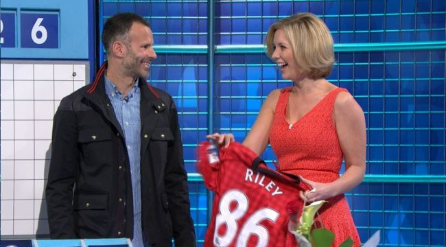 Countdown presenter marks her 1,000th appearance with a surprise visits from Ryan Giggs