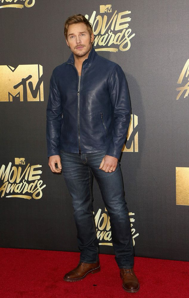 Chris Pratt from MTV Movie Awards 2016 Red Carpet Arrivals  Jeans and a leather jacket have never looked so good on an actor.