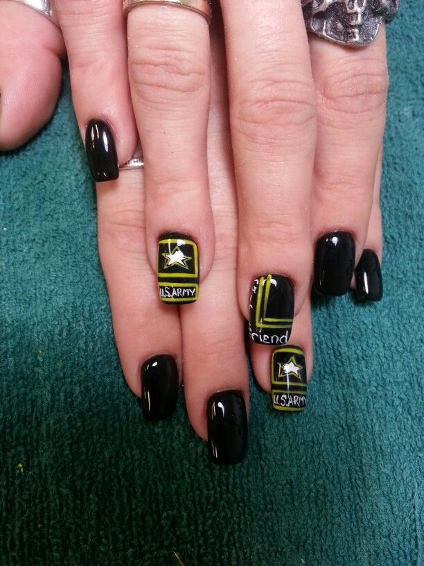 U.S. army nail art, army girlfriend nails