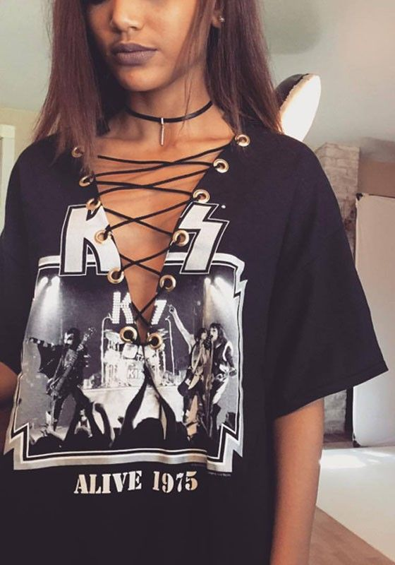 Black Kiss Alive Rock And Roll Band Print Lace-up V-neck Casual T-Shirt Dress
