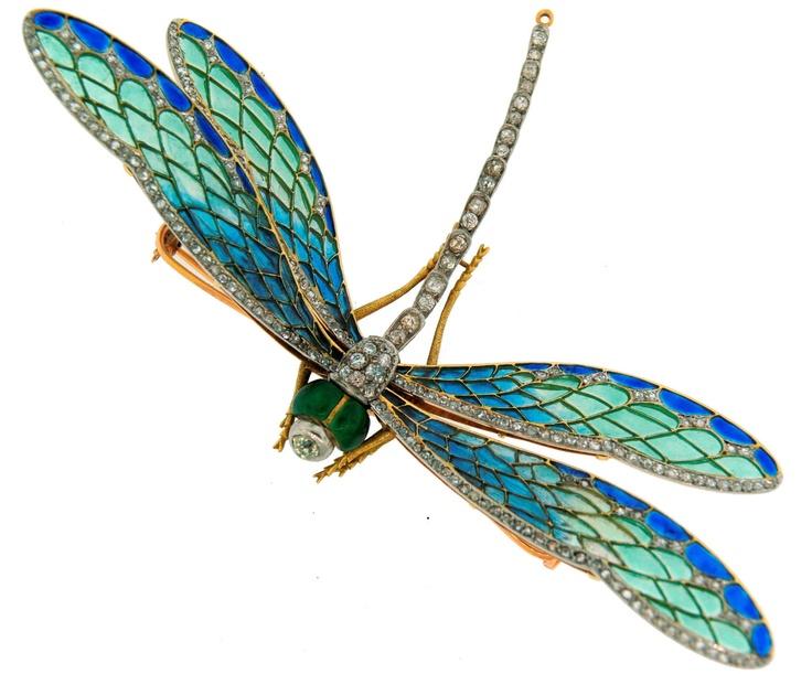 Art Nouveau dragonfly brooch.