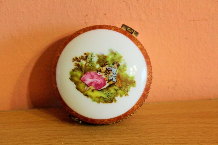 Round Porcelain Trinket Box With Lid, Antique Victorian Couple Picture Jewelry Holder, Ceramic Ring Dish by Grandchildattic on Etsy
