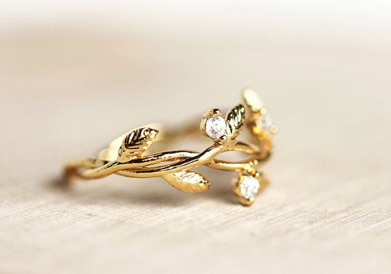 Delicate Leaf Branch ring with CZ stones Everyday jewelry, Leaf Ring,Vine Ring,Adjustable Ring,Gift for Her,Gift Under 25,branch ring
