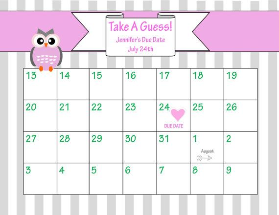 Baby Shower Due Date Calendar