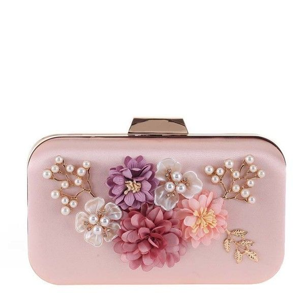 Pearls Beading Floral Clutch Bag ($39) ❤ liked on Polyvore featuring bags, handbags, clutches, white clutches, beaded clutches, white purse, pearl purse and embellished purse