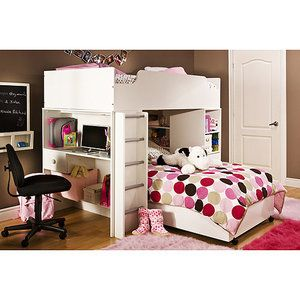 South Shore Logik Loft Bed Collection, White