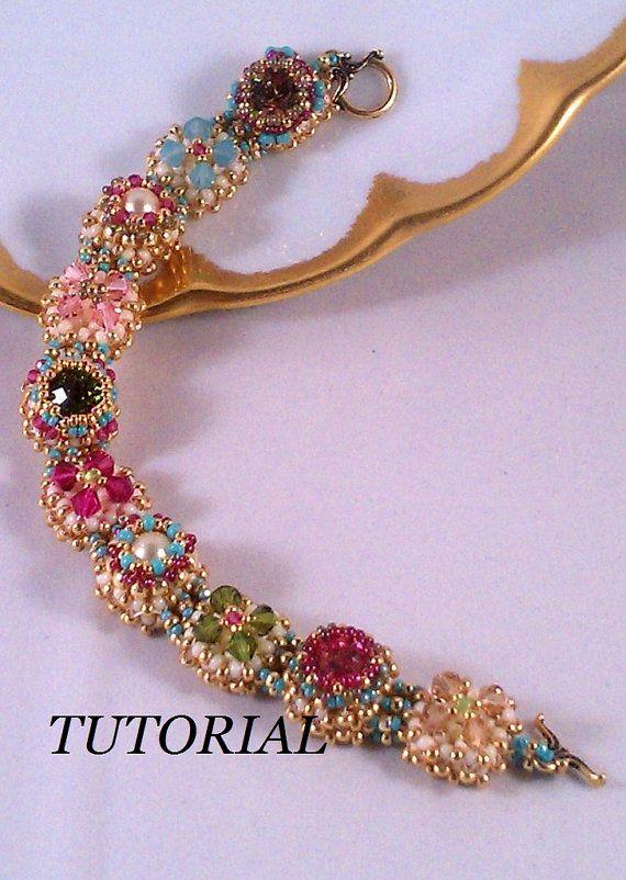 Tutorial for Victorian Antique Slides Beadwoven Bracelet with Swarovski Crystal