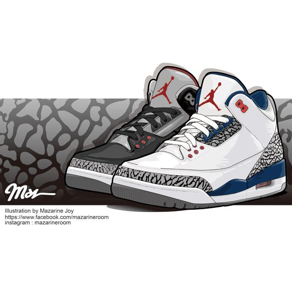 CEMENT PRINT - AJ III Illustration by Joy #mazarineroom #illustration  #illustrator #art. Air JordansCementIllustratorJoyAir ...