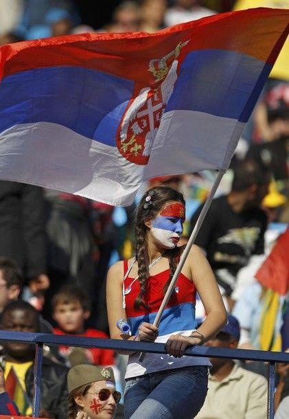 Serbian Girl With Flag