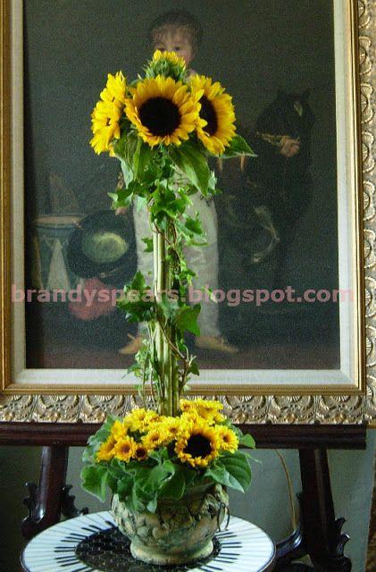 Sunflower wedding centerpieces topiary